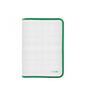 Папка A4 пластиковая прозрачная с зеленой молнией, Economix