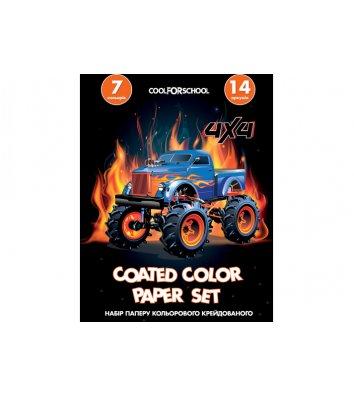 Папір кольоровий крейдований А4 14арк 7 кольорів, Cool for School