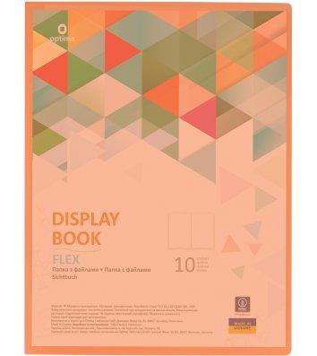 """Папка А4 пластикова з 10 файлами """"Flex"""" помаранчева, Optima"""