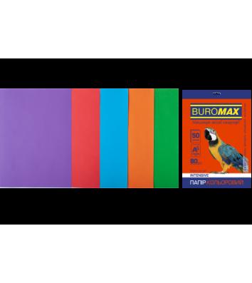Набор бумаги А4 80г/м2 50л цветная 5 интенсивных цветов, Buromax