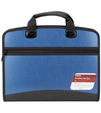 Портфель А4 пластиковый на молнии 4 отделения синий металлик, Axent