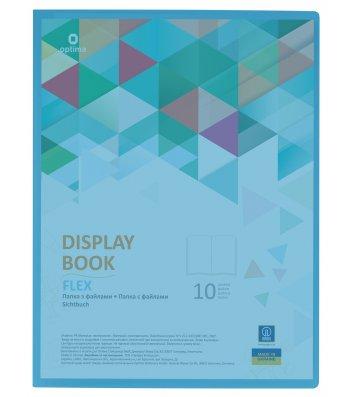 "Папка А4 пластикова з 20 файлами ""Flex"" блакитна, Optima"