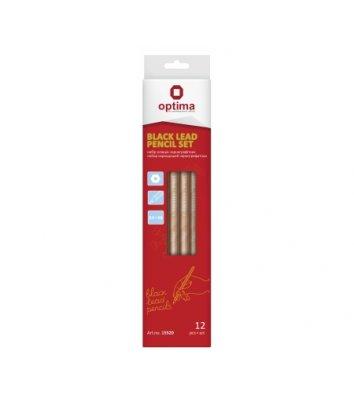 Набір чорнографітних олівців 4H-6B 12шт, Optima