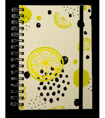 Блокнот А5 80арк клітинка Fructs, бічна спіраль жовтий, Buromax
