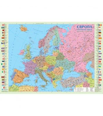 Политическая карта Европы 65*45см картонная ламинированная
