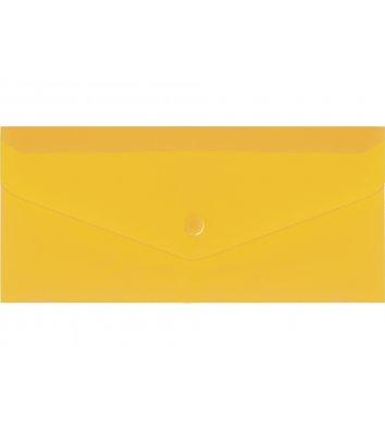 Папка-конверт E65 на кнопці пластикова прозора жовта, Economix