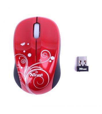Миша комп'ютерна бездротова червона, Trust Vivy Wireless Mini Mouse Swirls