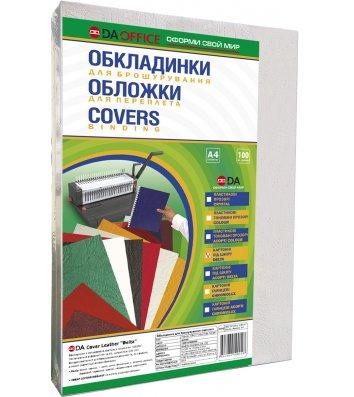 """Обкладинка для брошурування А4 250г/м2 100шт картонна фактура """"шкіра"""" біла, DA"""
