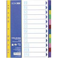 Разделители листов А4 12 разделов пластиковые цветные, Economix