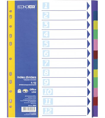 Розділювачі аркушів А4 12 розділів пластикові кольорові, Economix