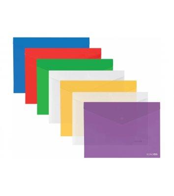 Папка-конверт А3 на кнопці пластикова прозора асорті, Economix