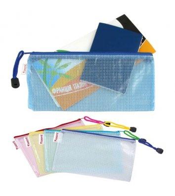 Папка-конверт DL на блискавці пластикова прозора асорті, Axent