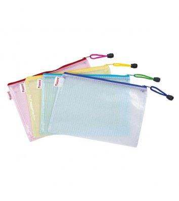 Папка-конверт А4 на молнии пластиковая ассорти, Axent