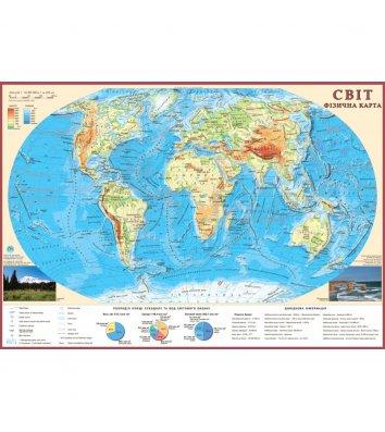 Карта Фізична карта Світу М1:55 000 000, 65*45см, картон з планками