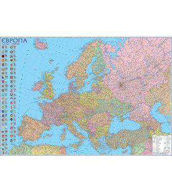 Политическая карта Европы 110*77см ламинированная с планками