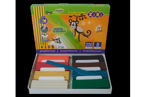 Пластилін  8 кольорів 200г, Zibi
