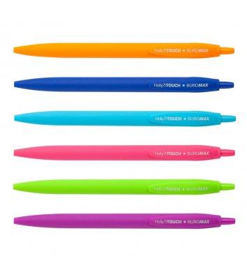 Ручка масляная автоматическая Holly Touch, цвет чернил синий 0,7мм, Buromax.