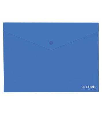 Папка-конверт А4 на кнопці пластикова прозора синя, Economix
