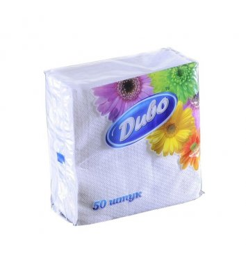 Серветки паперові  одношарові 50шт 24*24см білі, Диво
