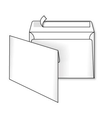 Конверт B5 1шт белый офсет с отрывной лентой