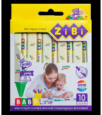 Мел восковой цветной 10шт Jumbo трехгранный, Zibi