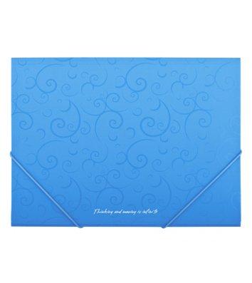 Папка А4 пластикова на гумках Barocco блакитна, Buromax