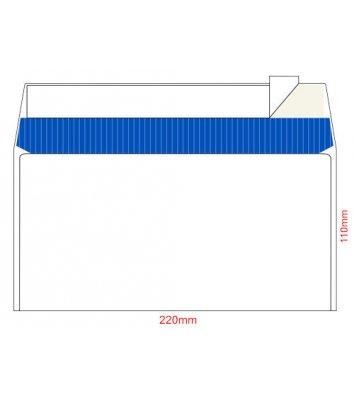 Конверт E65 100шт белый офсет с отрывной лентой