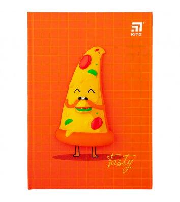 """Блокнот з м'яким """"анти-стрес"""" елементом A5 80арк клітинка Pizza, Kite"""