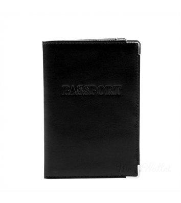 Обкладинка для паспорту шкіряна чорна, Desisan