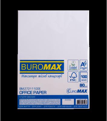 Бумага офисная A4 80г / м2 100л Euromax белая, Buromax