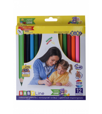Карандаши цветные 12шт трехгранные Jumbo, Zibi