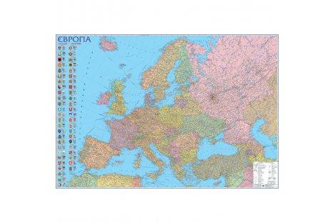 Политическая карта Европы 160*110см картонная