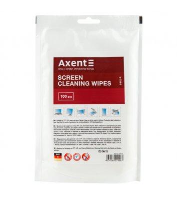 Серветки вологі змінні для очищення екранів 100шт в пакеті, Axent