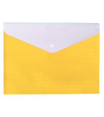 """Папка-конверт А4 на кнопці пластикова 2 відділення """"Вишиванка"""" жовта, Optima"""