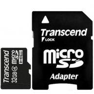 Карта памяти 32GB Transcend microSDHC Class 4 с адаптером