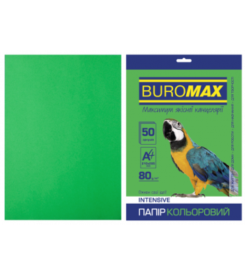 Бумага А4 80г / м2 50л цветная интенсивная зеленая, Buromax