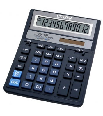 Калькулятор 12 розрядів 203,2*158*31мм темно-синій, Citizen
