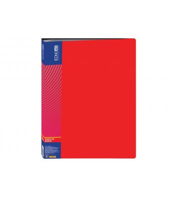 Папка А4 пластиковая 40 файлами красная, Economix