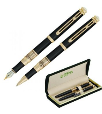Набір ролер та ручка перова Піраміда, колір корпусу чорний із золотистим, Regal