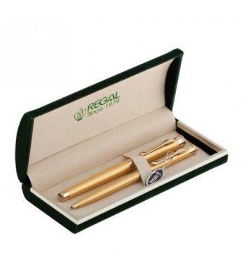 Набір ручка кулькова та перова, колір корпусу золотистий, Regal
