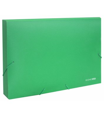 Папка-бокс А4 60мм пластикова на гумках зелена, Economix