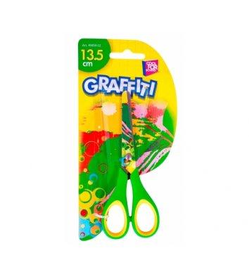"""Ножницы детские 13,5 см ручки с резиновыми вставками """"Graffiti"""", Cool For School"""