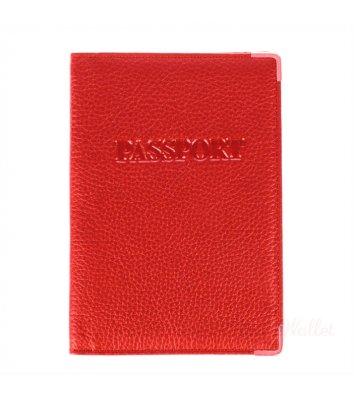 Обкладинка для паспорту шкіряна червона, Desisan