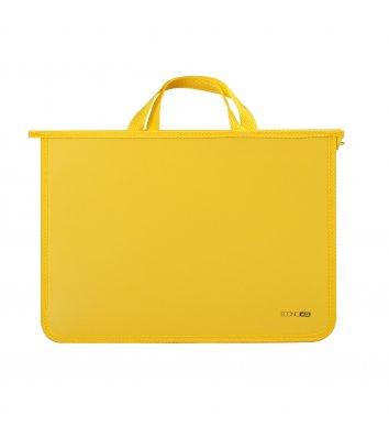 Портфель А4 пластиковий на блискавці 2 відділення жовтий, Economix