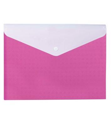 """Папка-конверт А4 на кнопці пластикова 2 відділення """"Вишиванка"""" рожева, Optima"""