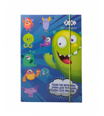 Папка B5 картонная на резинке для тетрадей Monsters, Zibi