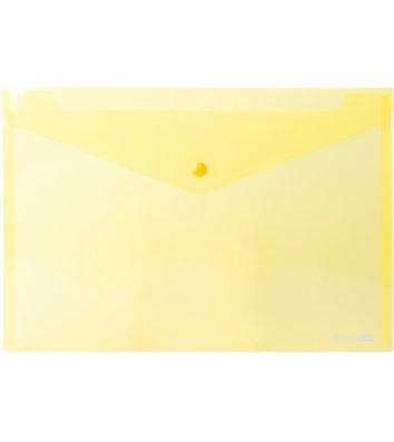 Папка-конверт А4 на кнопці пластикова прозора жовта, Economix