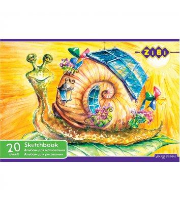 Альбом для малювання  А4 20арк на скобі асорті, Zibi