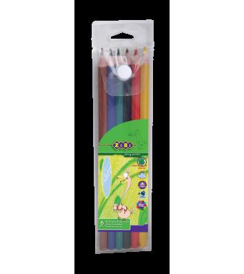 Олівці кольорові  6шт шестигранні в пеналі Protect, Zibi