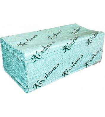 Полотенца бумажные однослойные 200шт Z-сложения зеленые, Кохавинка